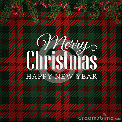 Free Merry Christmas Greeting Card, Invitation With Christmas Tree Branches And Red Berries Border. Tartan Checkered Background. Royalty Free Stock Photos - 79764618