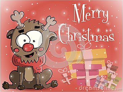 Merry Christmas greeting card vector illustration Vector Illustration