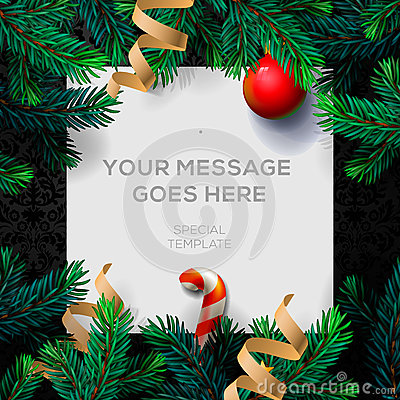 Free Merry Christmas Greeting Card With Fir Twigs Royalty Free Stock Image - 62328846