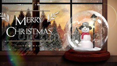 Merry christmas greeting with snow globe. Digital animation of Merry christmas greeting with snow globe
