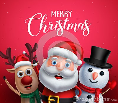 Merry christmas greeting text with santa claus, reindeer and snowman vector characters Vector Illustration