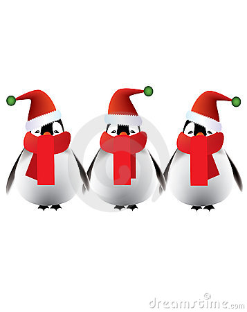 Merry Christmas greetings from baby penguins