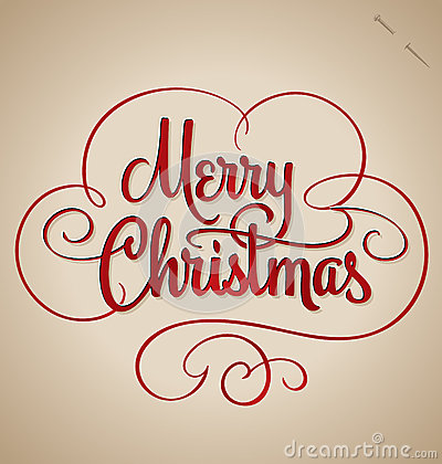 Free Merry Christmas Hand Lettering (vector) Royalty Free Stock Images - 32863279