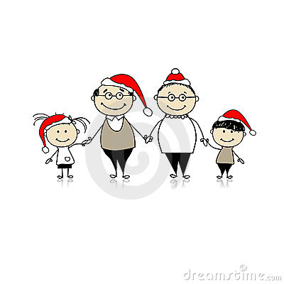 Merry christmas. Happy family together