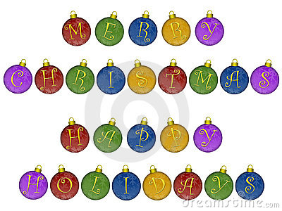 Merry Christmas Happy Holidays Ornaments
