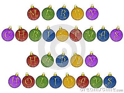 Merry Christmas Happy Holidays Ornaments
