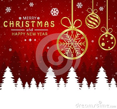 Merry Christmas and happy new year. Christmas ball golden in red background Vector Illustration