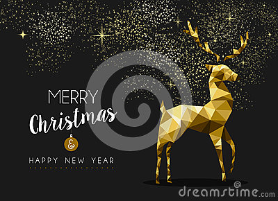 Merry christmas happy new year gold deer origami Vector Illustration
