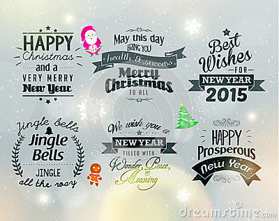 Merry Christmas and Happy New Year 2015 Greetings Vector Illustration