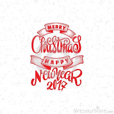 Merry christmas and happy new year 2017 hand-lettering text . Handmade ...