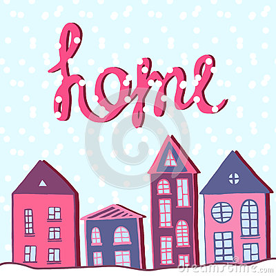 Merry Christmas and happy new year, Home holiday. Winter street with snow. Vector greeting card. Vector Illustration