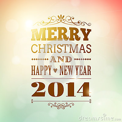Merry christmas and happy new year 2014 poster