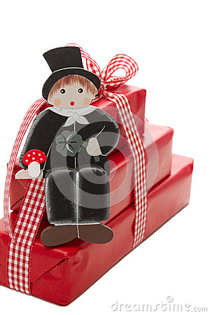 Merry christmas and a happy new year - red present