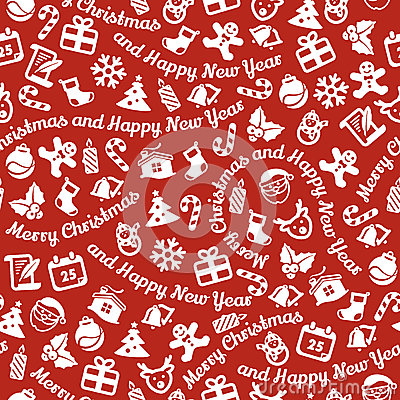 Merry Christmas and Happy New Year seamless background