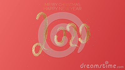 Merry Christmas, Happy New Year, 2020. Text golden with bright sparkles on red chinese color background Vector Illustration