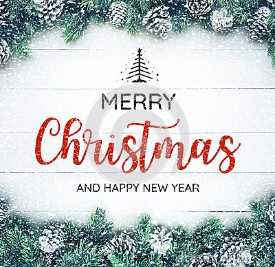 MERRY CHRISTMAS AND HAPPY NEW YEAR typography,text with christmas ornament Stock Photo