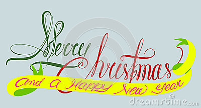 Merry christmas and a happy new year typography