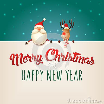 Merry Christmas and happy New year wishing you Santa Claus and Reindeer on billboard - green background Vector Illustration
