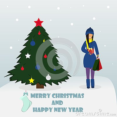 Merry Christmas and Happy New Year. Woman standing with gift. Vector illustration Vector Illustration