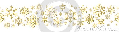 Merry Christmas holiday decoration effect. Golden snowflake seamless pattern. EPS 10 Vector Illustration