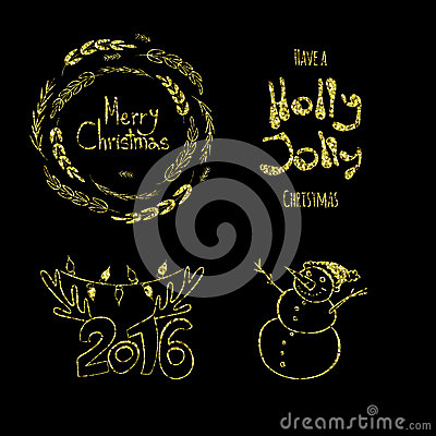 Free Merry Christmas, Holly Jolly, Happy New 2016 Year! Calligraphic Labels, Letters Elements Made Of Golden Glitters Royalty Free Stock Images - 62556529