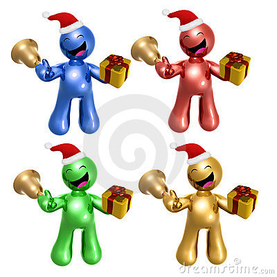 Merry christmas icons with santa hat and gift