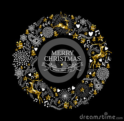 Free Merry Christmas Label Wreath Gold Deer Low Poly Royalty Free Stock Photos - 63476688