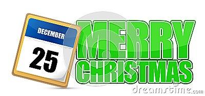 Merry christmas mark on a calendar