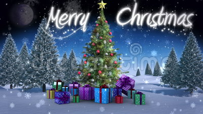 Merry Christmas message appearing in snowy landscape. Digital animation of Merry Christmas message appearing in snowy landscape stock video footage