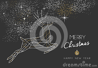 merry christmas new year deer art deco outline cartoon vector
