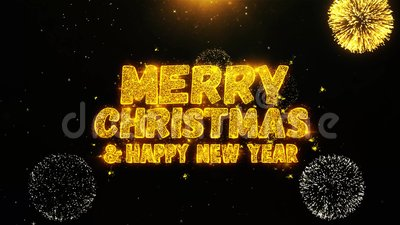 merry christmas and new year wishes greetings invitation celebration firework looped stock video video of evening party 131392543