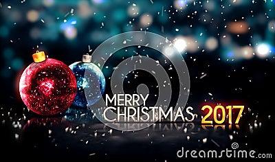 Merry Christmas 2017 Night Bokeh Beautiful 3D Background Stock Illustration -...