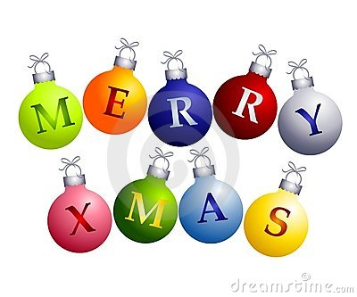 Merry Christmas on Ornaments