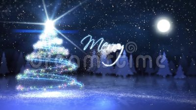 Merry Christmas Particle Write with Flying Santa. This video Features a particle Christmas tree and hand written Merry Christmas with Santa flying in the