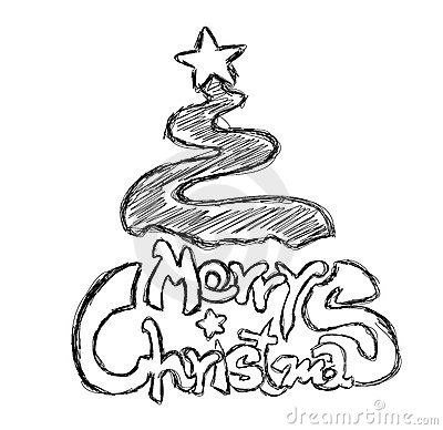 Merry Christmas Phrase Sketch