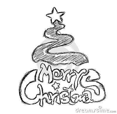 Merry Christmas Phrase Sketch