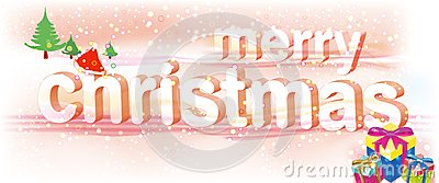 Merry Christmas Pink Text/Vector