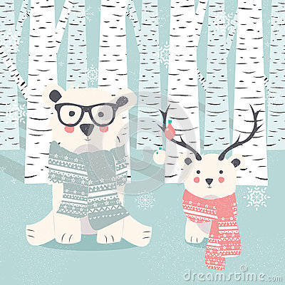 Free Merry Christmas Postcard With Two Polar White Bears In Forest Stock Images - 78724074