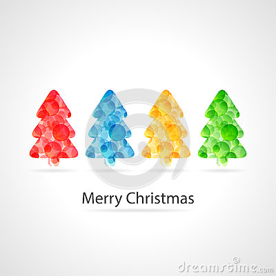 Merry christmas poster - colourful christmas trees