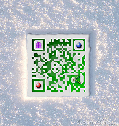 Merry Christmas QR Code set in snow
