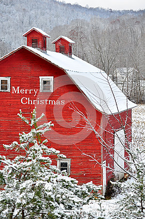 Free Merry Christmas Red Barn In Snow Royalty Free Stock Photos - 46977018