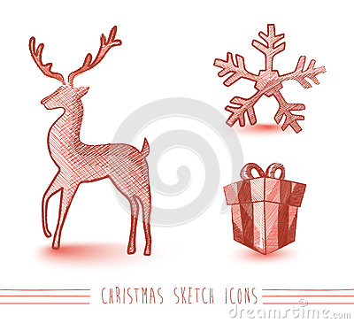 Merry Christmas red sketch style elements set EPS1