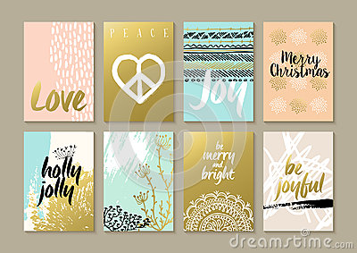 Merry christmas retro hipster boho hippie card set Vector Illustration