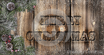 Merry Christmas Rustic Boards Stock Photo