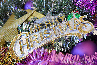 Merry Christmas Sign with Decorations