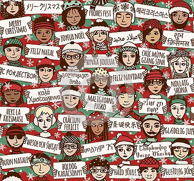 Free Merry Christmas Signs In Different Languages - Color Version Stock Image - 78387291