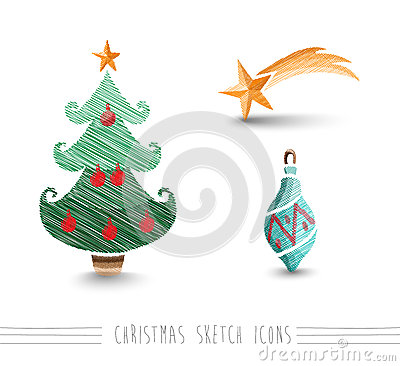 Merry Christmas sketch style bauble tree elements set EPS10 file