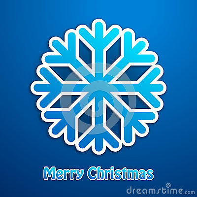 Merry christmas snowflake blue poster