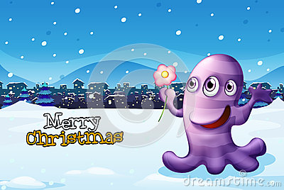 A merry christmas template with a purple monster
