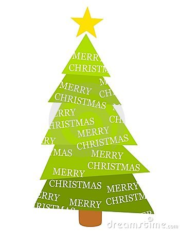 Merry Christmas Tree Isolated